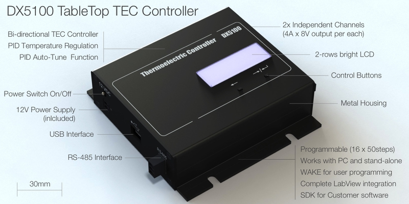 DX5100 TableTop TEC Driver (Peltier Controller)